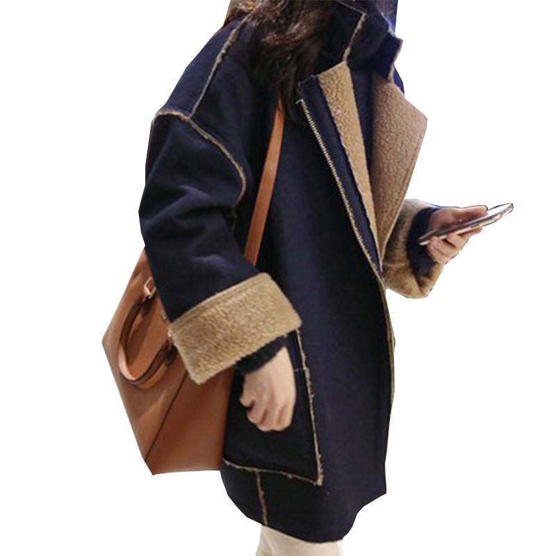 Ukraine Winter Women Wool Coat Jacket 2017 New Plus Size Long Lamb Hair Thickened Lapel Fashion Female Overcoat Parkas WZ182
