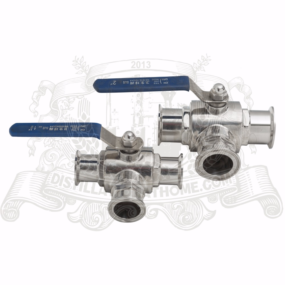 3 way stainless steel ball valve 2 (51mm) tri-clamp connection 2