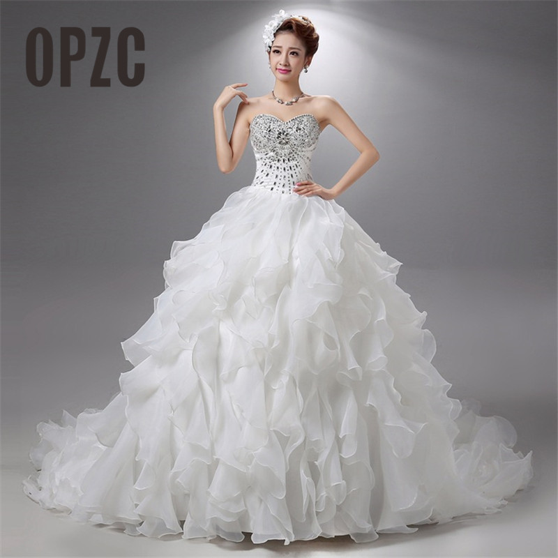 Wedding Gown With Ruffles: Vestido De Noiva Luxury Crystal Strapless Lace Ball Train