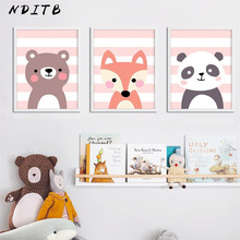NDITB Cute Cartoon Panda Lion Canvas Art Painting Woodland Animal Posters and Prints Nursery Wall Picture for Living Room Decor