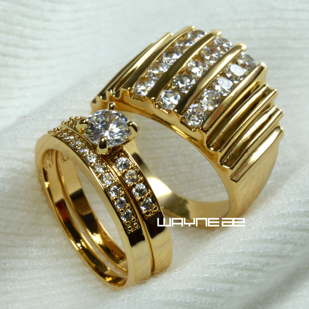 set gold tone engagement ring band for men and women r117280 men size 9 15 women size 6 10 - Exotic Wedding Rings