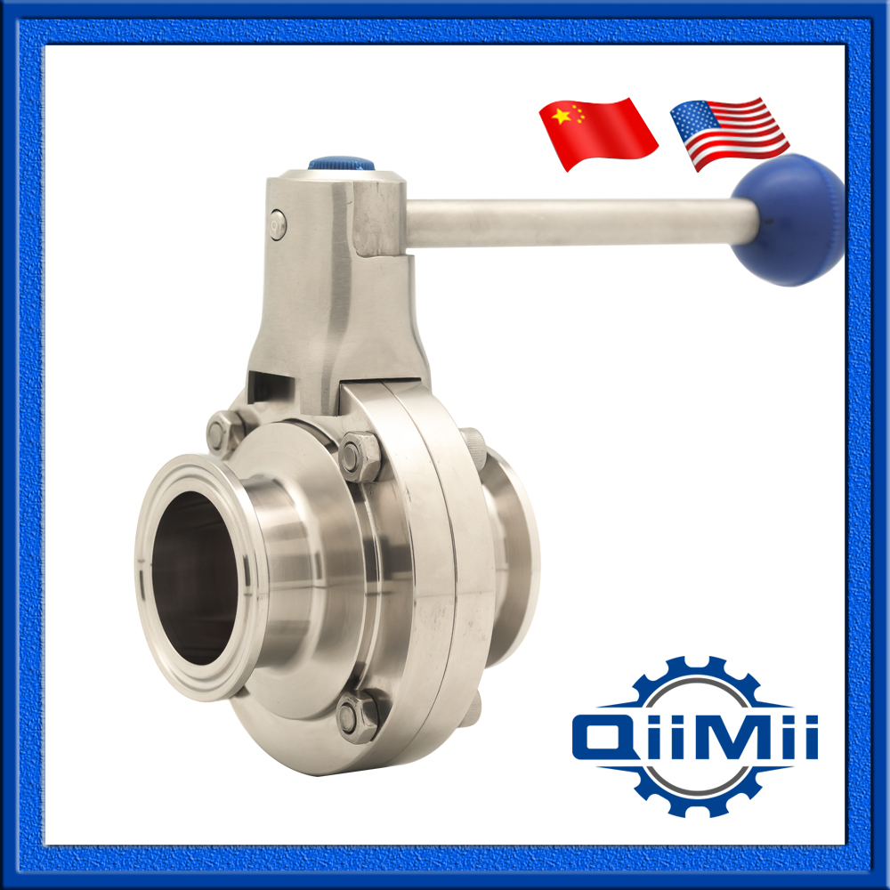 2.0 Sanitary SS304 Tri Clamp Silicon Butterfly Valve Clamp End Food Grade