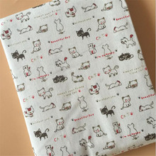 Cat Printed Canvas Fabric Cotton Linen Patchwork DIY Sewing Quilting Material Manual Crafts