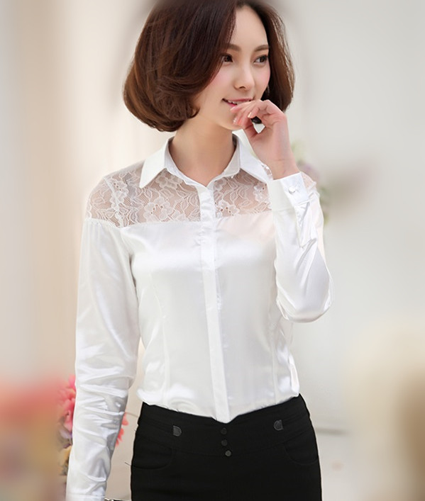 Aliexpress.com : Buy 2016 long sleeve Satin Shirt Women white ...