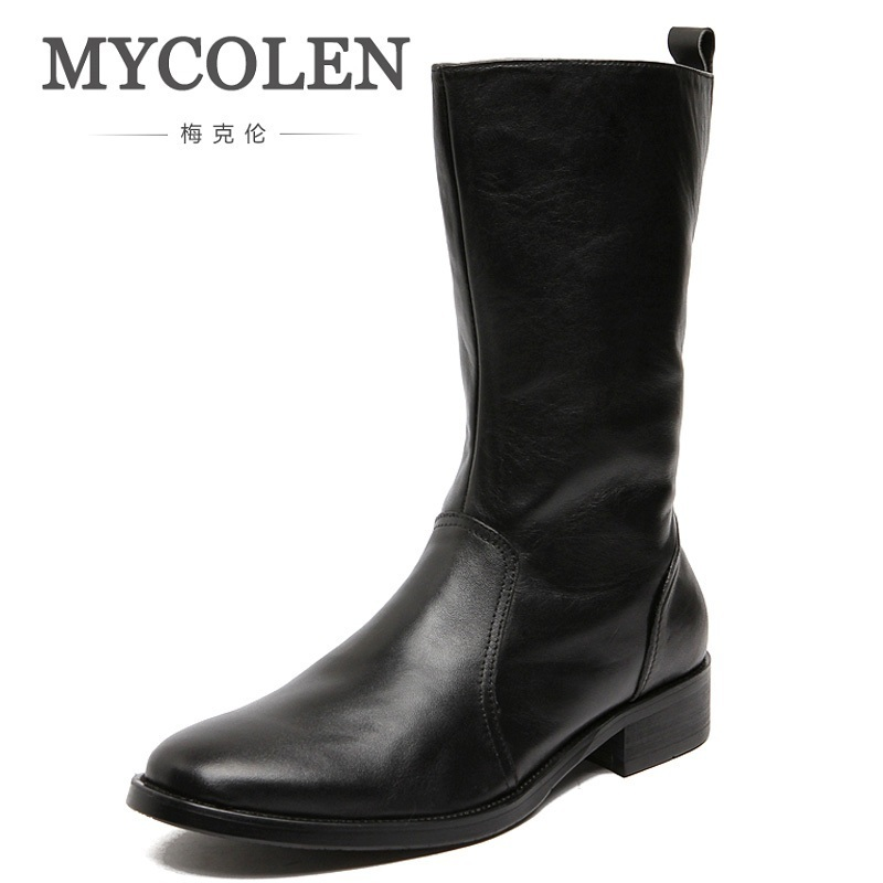 MYCOLEN British Trend Riding Boots Men Round Toe Cowboy Leather Martin Boots Autumn And Winter Motorcycle Shoes Erkek Ayakkabi zosuo men boots buckle desert british male boots leather martin boots tide retro tooling men s shoes zs337