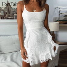 Forefair Women White Mesh Dress Elegant Vestidos Mujer 2019 Summer Sleeveless Backless Spaghetti Strap A Line Mini Ruffle Dress