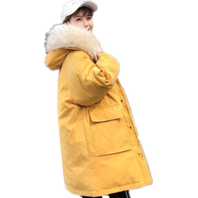 white Vêtements De Épais Long Parkas Capuche Fourrure yellow Bas Coton Nouveau blue Automne Vers 2018 Femme 290 Veste Manteaux Zipper Col Femmes Off Chaud Rembourré red Hiver Le black E2WH9DYI