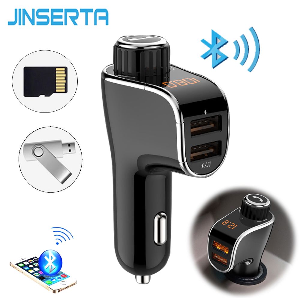 JINSERTA Wireless Bluetooth V4.2 Hands Free FM Transmitter FM Modulator Car Kit MP3 Player SD TF USB Music Car Accessories