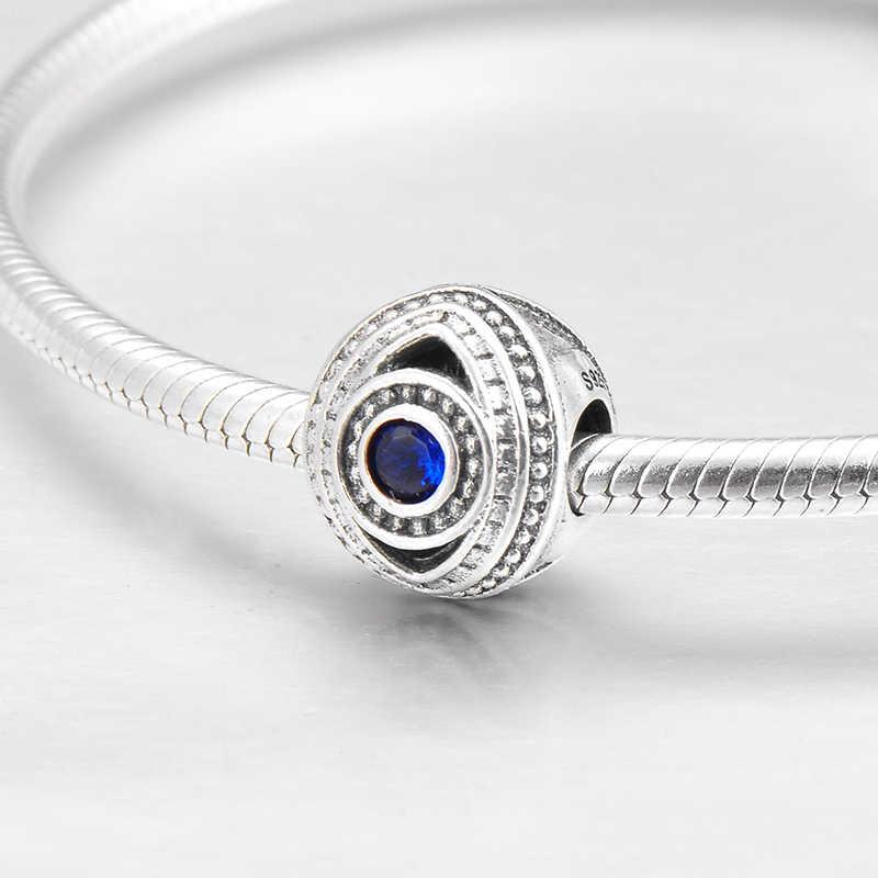 Autentyczne 925 srebro zło niebieskie oko wyczyść CZ okrągły koralik do tworzenia biżuterii Fit oryginalny Pandora Charm bransoletki DIY prezent