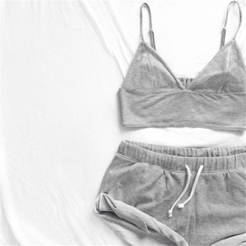 2 Pcs Women Sexy Bra Tank Short Suit Sleeveless Bustiers Corsets Cotton Causal Underpants   Pajamas     Set   Summer Sleepwear Nightwear