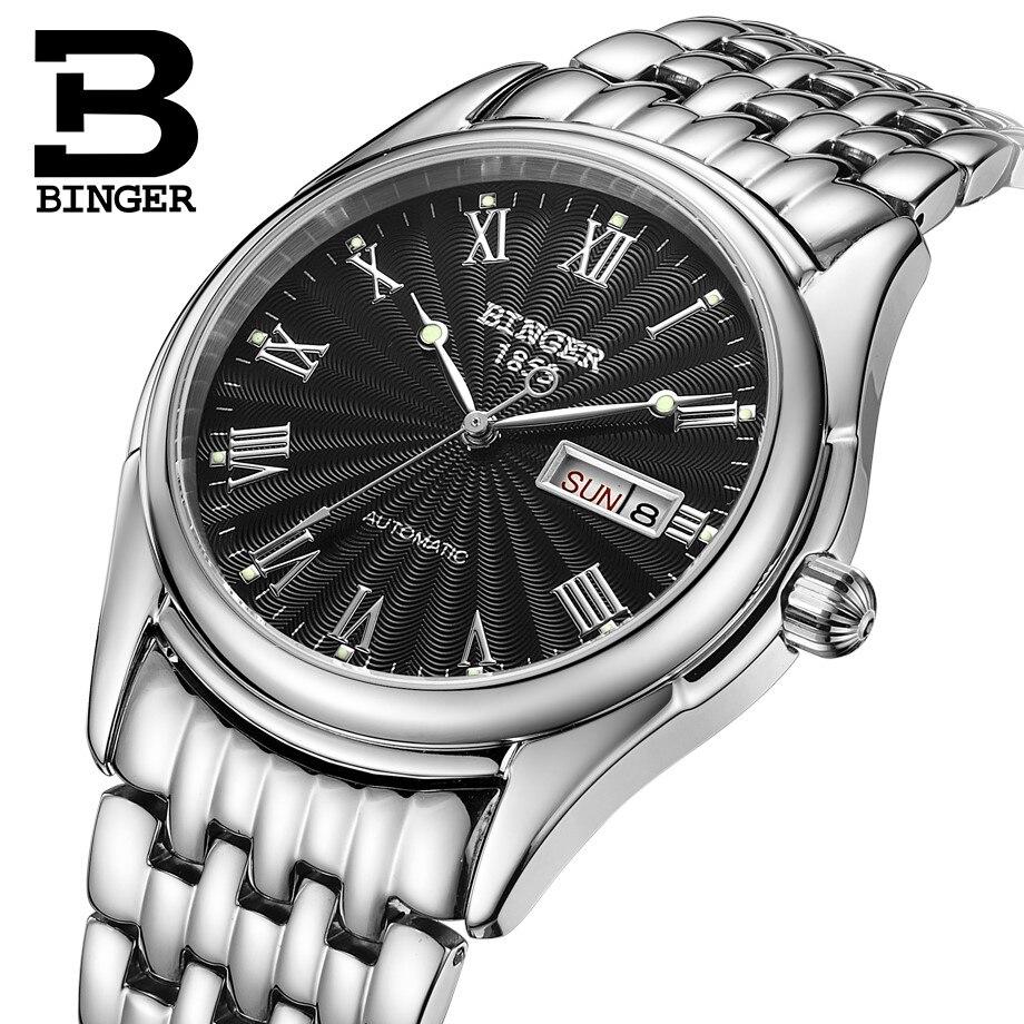 High end Business Watch men Switzerland BINGER Automatic watch Calendar Week Luminous full steel Mechanical watches