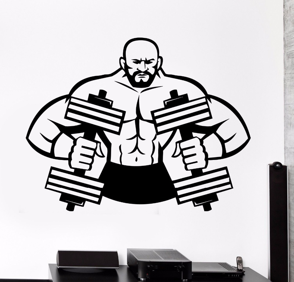 Sticker gym wall - Fitness Gym Wall Decal Sport Muscle Man Dumbbell Barbell Bodybuilder Art Wall Sticker Fitness Centre Bedroom