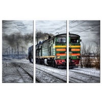 3 Panels Canvas Art Print Poster Retro Nostalgic Black And White Steam Train Wall Pictures Home