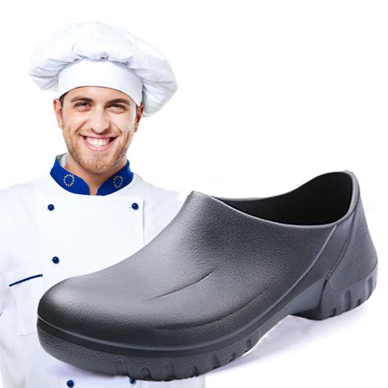 Hotel Kitchen Chef Shoes Black White Restaurant Cook Non-slip Slippers Kitchen Work Oil-Proof Water-Proof For Flat Safety Shoes