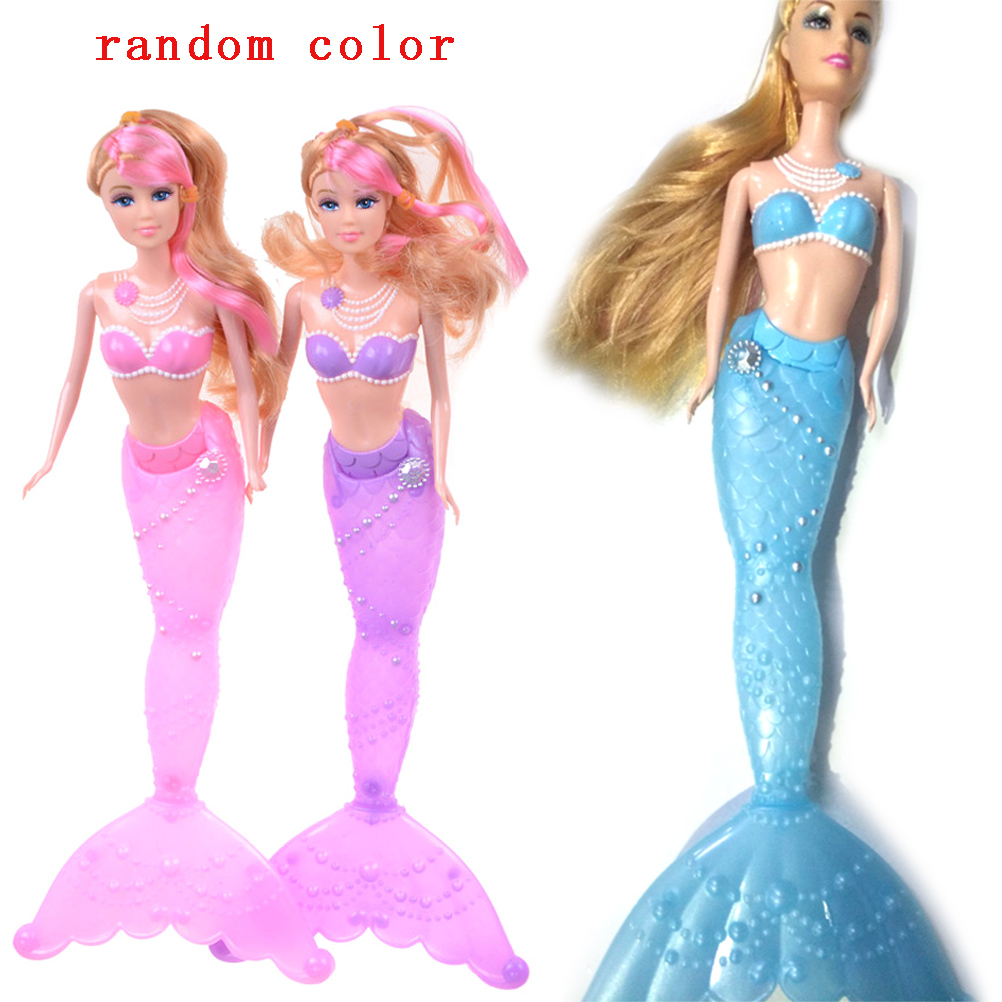 34cm High Dolls Toy Princess Mermaid Doll With LED Light Classic For Girl Birthday Xmas Gifts