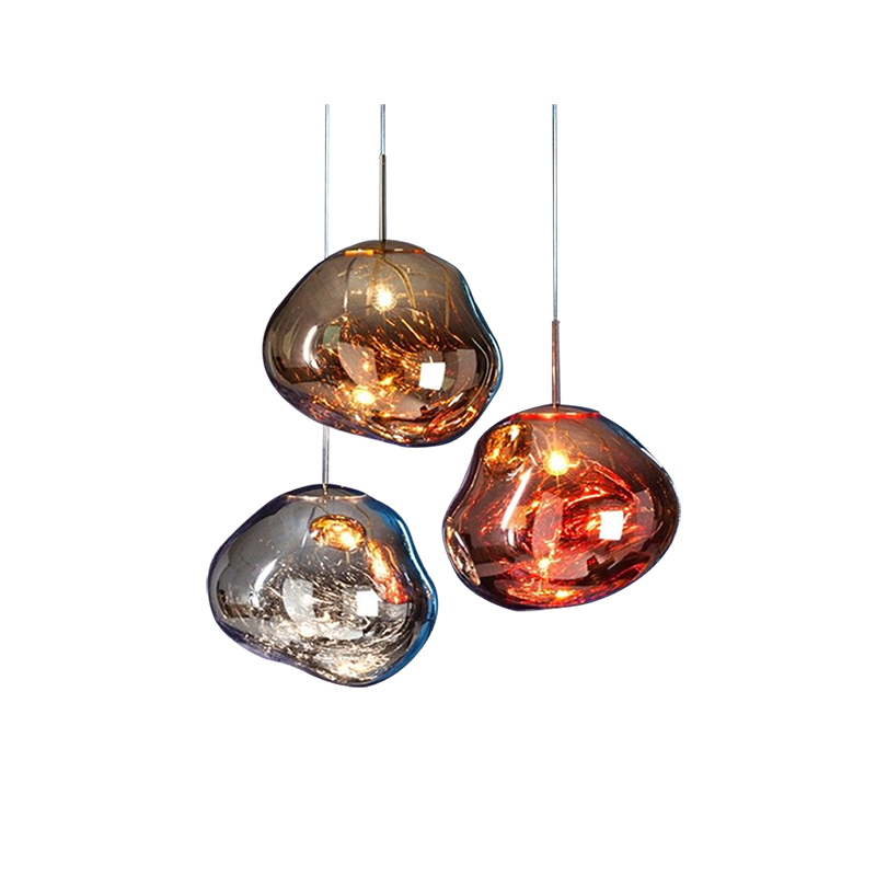 Modern Melt Pendant Lights D25 40CM Acrylic Lava Irregular Silver Gold Copper Mirror Single Hang Lamp