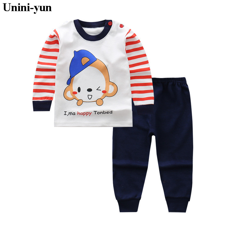 Autumn Style Children's Clothing Sets 2017 Long-Sleeve Striped T-shirt+Monkey Pants Baby Kids Sets 100% Cotton baby boys clothes