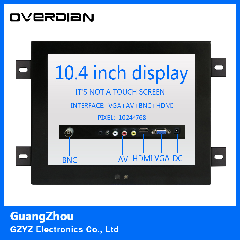 10.4 VGA/HDMI/BNC/AV Interface Non-Touch Industrial LCD Monitor/Display 1024*768 Metal Shell Hanger Card Installation 4:3 8 8 4 inch vga dvi interface non touch industrial control lcd monitor display metal shell buckle card installation 4 3