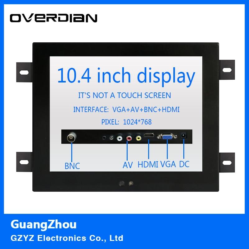 10.4 VGA/HDMI/BNC/AV Interface Non-Touch Industrial LCD Monitor/Display 1024*768 Metal Shell Hanger Card Installation 4:3 10 4 10 vga dvi interface non touch industrial control lcd monitor display 1024 768 metal shell hanger card installation 4 3