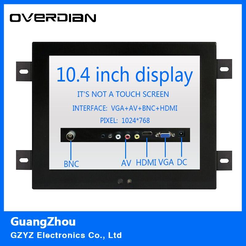 10.4 VGA/HDMI/BNC/AV Interface Non-Touch Industrial LCD Monitor/Display 1024*768 Metal Shell Hanger Card Installation 4:3