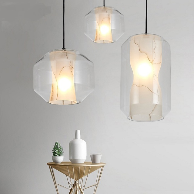 Nordic light dinner decoration single head lamp french designer nordic light dinner decoration single head lamp french designer imitation marble glass pendant lights modern bedroom aloadofball