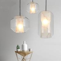 Nordic Light dinner decoration single head lamp French designer imitation marble glass pendant lights modern bedroom restaurant