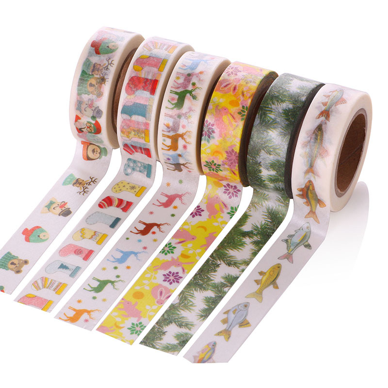 1 Pcs 1.5cm x 10m Merry Christmas Deer Washi Paper Masking Tapes Decorative Tape Scrapbooking Stickers Diary Decals Decors merry christmas deer snowflake window removable wall stickers
