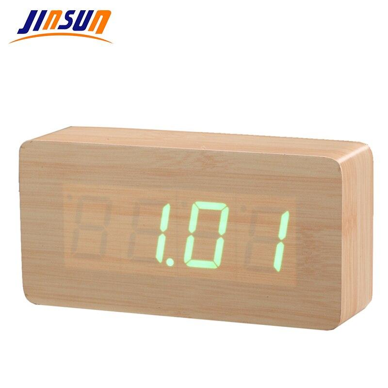 Digitální budík JINSUN s teplotou Dřevěné hodiny LED displej Digitální stolní hodiny Hlasové ovládání Wekker