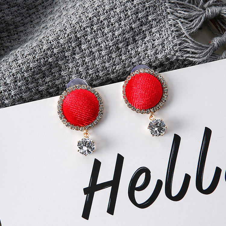 2017 Hot Sale Personality Velvet Round Botton Shape Stud Earrings Rhinestone Joker Pendientes Earrings For Women Fashion Gift