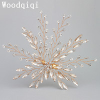 Woodqiqi Leaves Hair Accessories Bridal Crystal Gold Color Hair Jewelry Leaf Shaped Hair Barrettes In Women