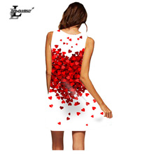 Lei-SAGLY Women 3D Digital Printed Love Pattern Sexy Round Neck Sleeveless Loose Spring and Summer Short Dress