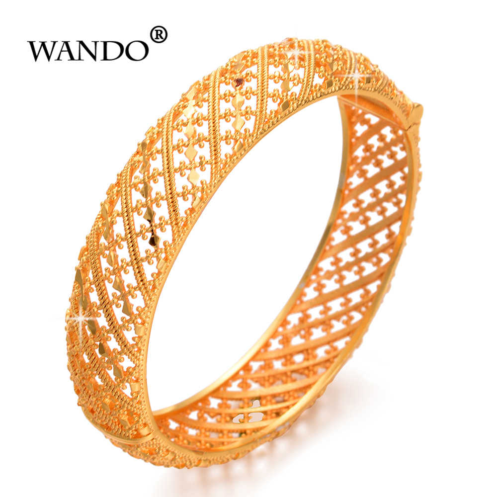 WANDO 1pcs Gold color Dubai wedding Bracelet for Women Fashion wide Bangles Arab African Arabic style can open jewelry giftsB183