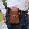 Garantia de 100% Couro Genuíno Homens Cintura Packs Moda Casual Celular Sacos de Telefone celular Carteira Masculino Hip Bum Fanny Saco Cinto pacote bolsa