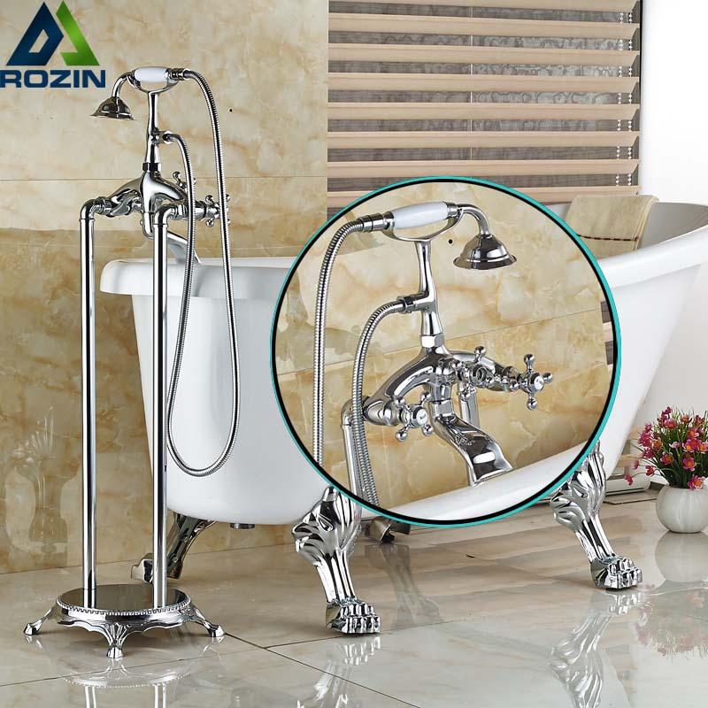 Luxus Bad Clawfoot Freistehende Badewanne Dusche Füllstoff Wasserhahn  Chrom Fertiger Mit Handbrause Bodenmontage(China