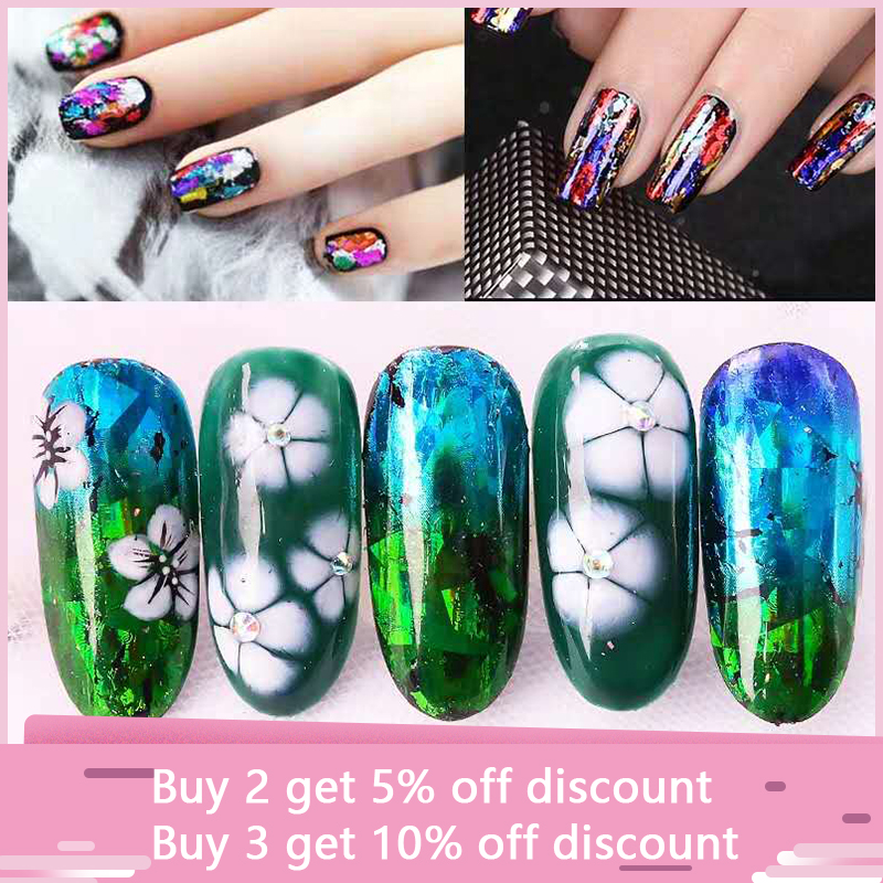 10pcs Holographic 2 5 100cm nail foil color laser star nail DIY art gel wrapped nail glue applique decoration Transfer sticker in Stickers Decals from Beauty Health