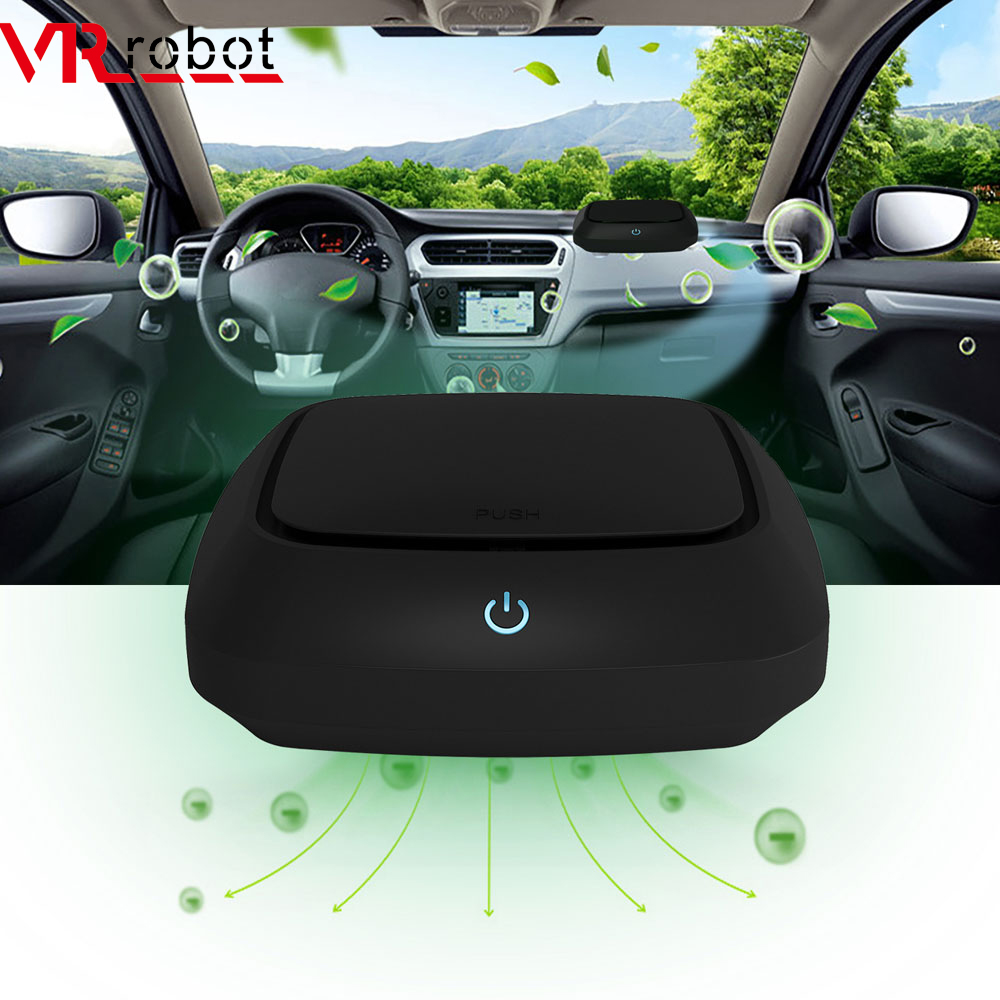 VR Robot Car Air Purifier With HEPA Filter Portable Negative Ion Car Air Cleaner Essential Oil Diffuser Dust Smell Smoke Remover