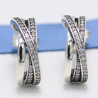 ROCKART Real 925 Sterling Silver Entwined Half Hoop Earrings With Clear CZ For Women Fine Jewelry Gift New Hot