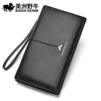 BISON DENIM Brand Handbag Men Genuine Leather Wallet Business Casual Large Capacity Clutch Bag Men's Cowhide Purse N8225 1