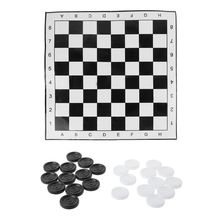 OOTDTY Portable International Chess Checkers Foldable Draughts White & Black Board Game  Folding