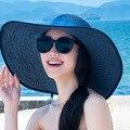 Estilo CALIENTE Del Verano Plegable Del Sombrero Del Sol Playa Grande Ala Del Sombrero de Paja Mujeres Adultas para Damas Elegantes Chicas Sombrero de Viaje de Vacaciones