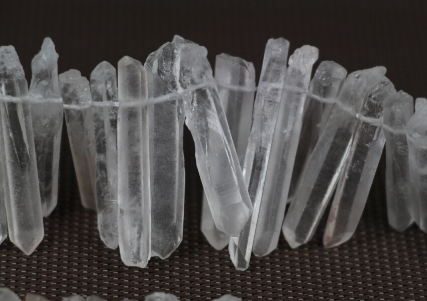 Full Strand of AAA-Grade Raw Clear Crystal Pillar Top Drilled Pendant - Fashion Jewelry - Photo 4