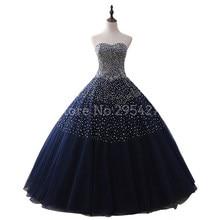 2019 Imagens Reais Azul Marinho Vestidos Quinceanera vestido de Baile Querida Beaded Tulle vestidos de quinceaneras vestido de 15 anos