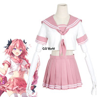 FGO Fate Grand Order Astolpho Sailor Suit Dress School Uniform Tops Skirt Outfit Games Cosplay Costumes