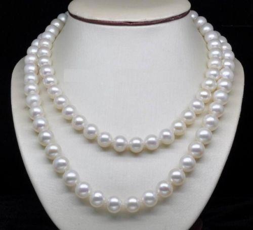 Livraison gratuite>>>>> véritable collier de perles blanches AAA 8-9mm de mer du sud 32 pouces