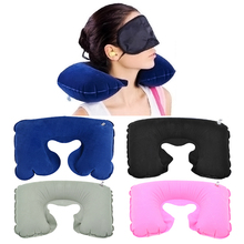цена на U-Shape Functional Inflatable Neck Pillow Inflatable Travel Pillow Car Head Neck Rest Air Cushion Flocking Travel Neck Pillow