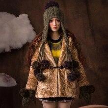 Шапочка и Перчатки Костюм Женщины Зима Теплый Толстый Earmuff Hat 100% Ручной Вязать Шапки Подарок