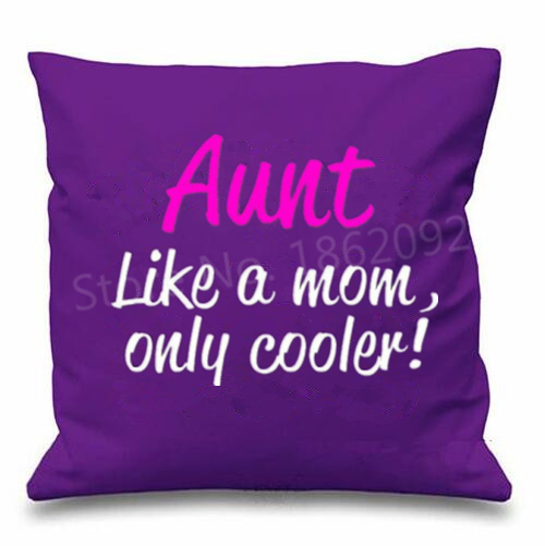Funny Auntie Aunt Birthday Gifts Like A Mom Only Cooler Throw Pillow Case Novelty Aunty Cushion Cover Typography Present