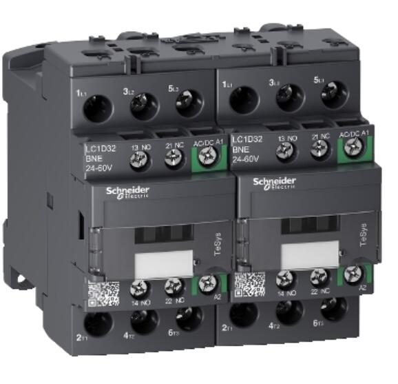 LC2D32BNE TeSys D reversing contactor - 3P - <= 440 <font><b>V</b></font> - <font><b>32</b></font> A <font><b>AC</b></font>-3 - 24...60 <font><b>V</b></font> <font><b>AC</b></font>/<font><b>DC</b></font> coil image
