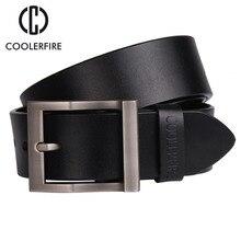 Coolerfire correa de cuero genuina de los hombres cinturones de diseño hombres de lujo cinturones para hombres de moda pin hebilla de correa masculina de la correa para los pantalones vaqueros HQ0231