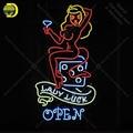 Neon Zeichen für Dame Luck Öffnen Neon Birne zeichen handwerk geschenk glas rohr licht Schmücken zimmer wand lampen werben display shop-in Neonröhren & Röhren aus Licht & Beleuchtung bei